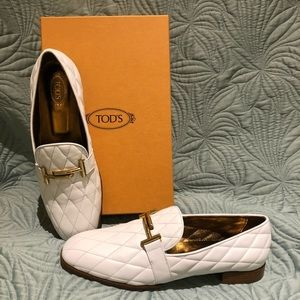 new authentic best wholesaler undefeated x Tod's Shoes | Tods White Quilted Loafers With Gold Accents | Poshmark